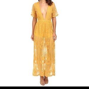 Dresses & Skirts - Mustard Boho Lace Romper honey punch